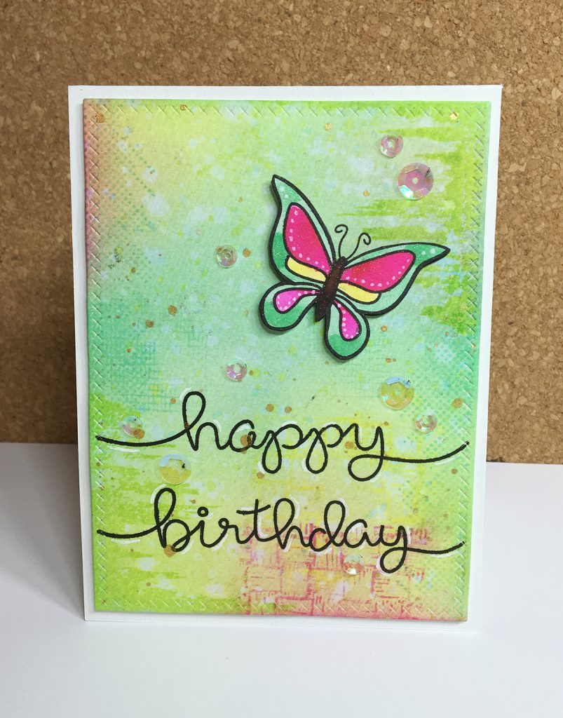 Maya Isaksson design in papers lawn fawn birthday butterfly
